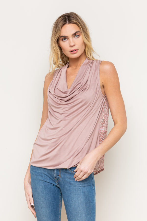Drapy Front Print Back Top