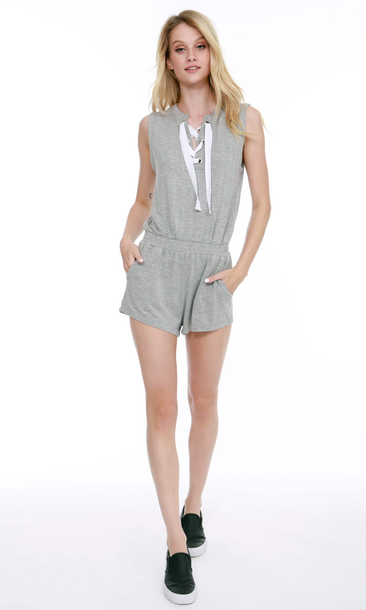 Lace Up Romper