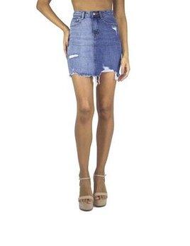 2 Tone Distressed Denim Skirt