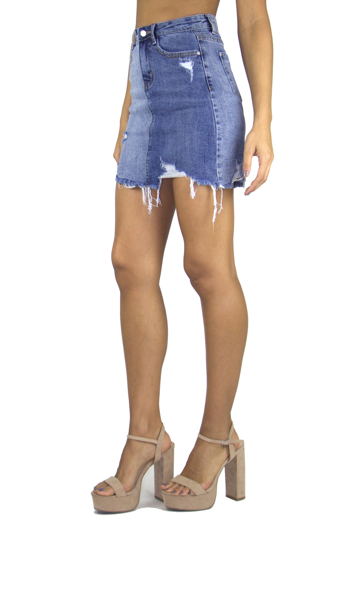 2 Tone Distressed Denim Skirt