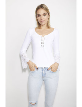 Lace Up Eyelet Sleeve Top