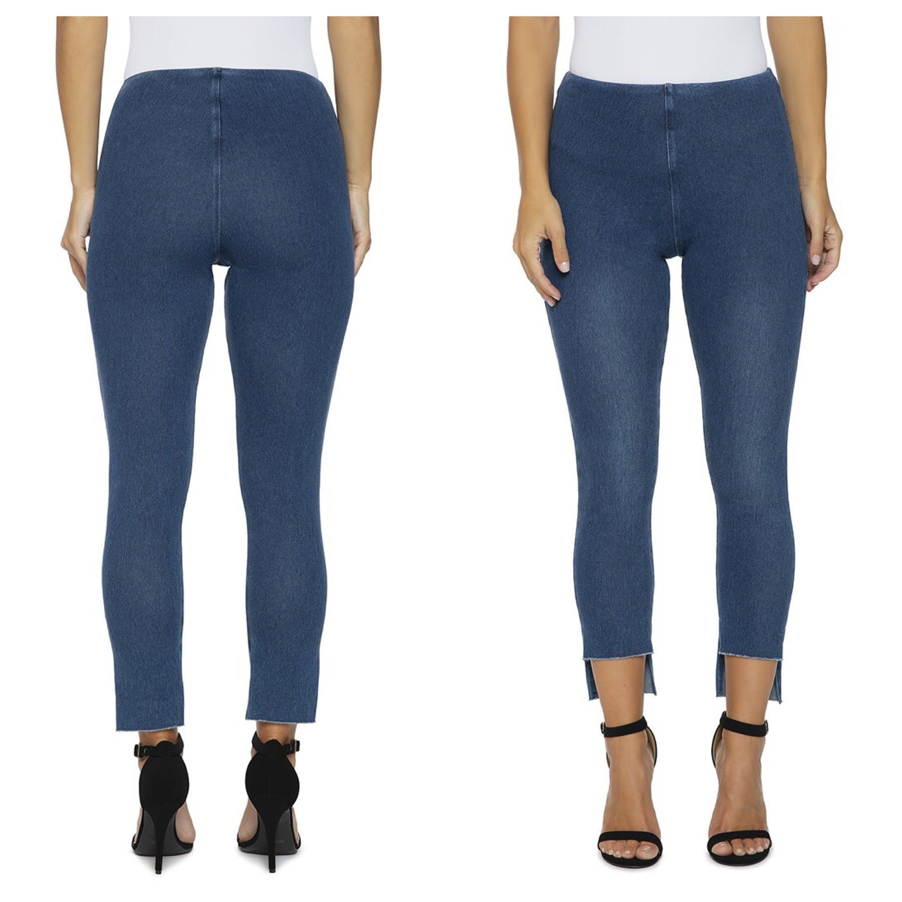 Stagger Cut Denim Leggings