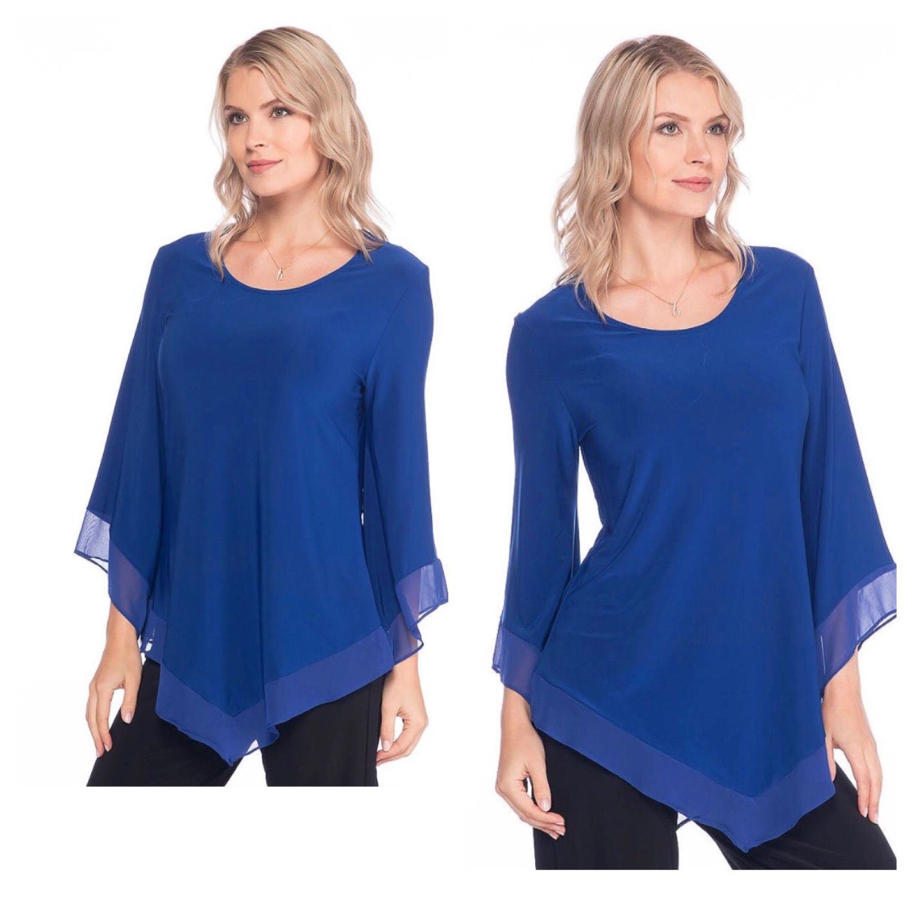 Scoop Neck Chiffon Trim Top