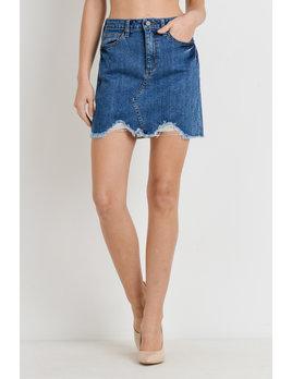 A-Line Distressed Mini Skirt