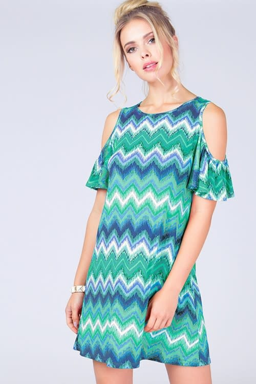 Chevron Cold Shoulder Dress