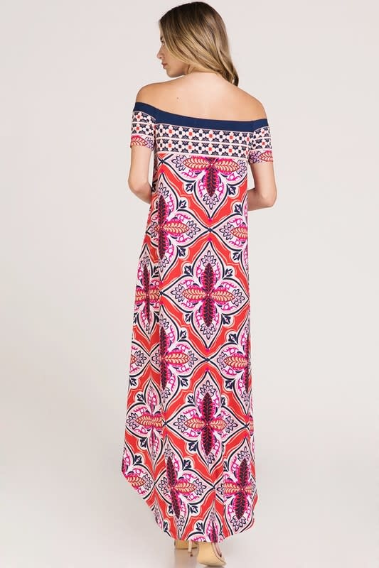Hi-Lo Off Shoulder Print Dress