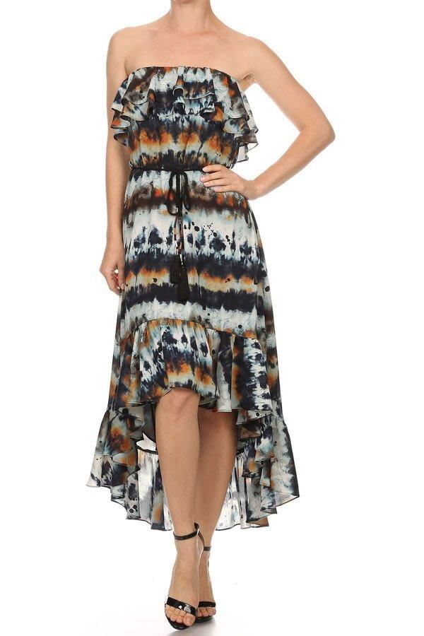 Print Hi-Lo Ruffle Dress