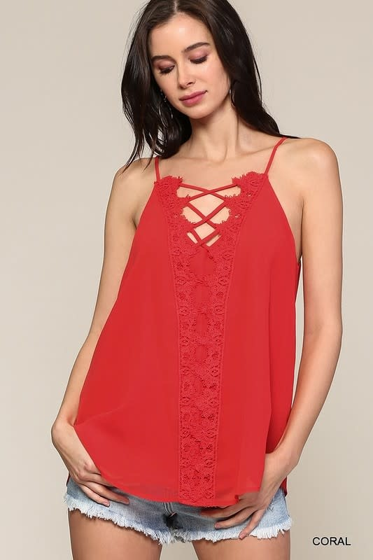 V Neck Lace Up Tank with Lace Detail
