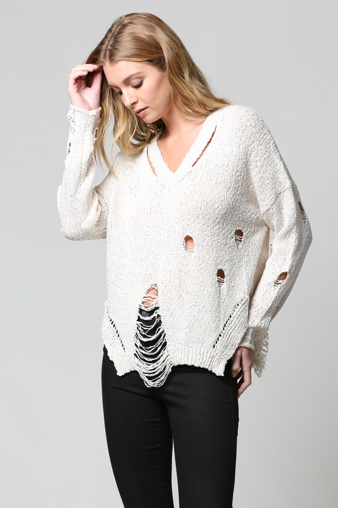 Distressed Light Weight Sweater