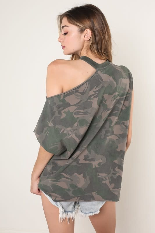 Camouflage One Shoulder Tee