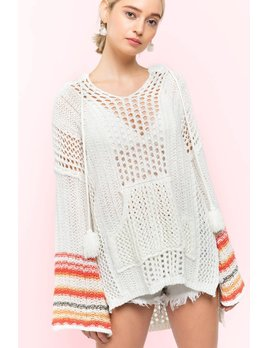 Loose Weave Sweater with Bell Sleeves