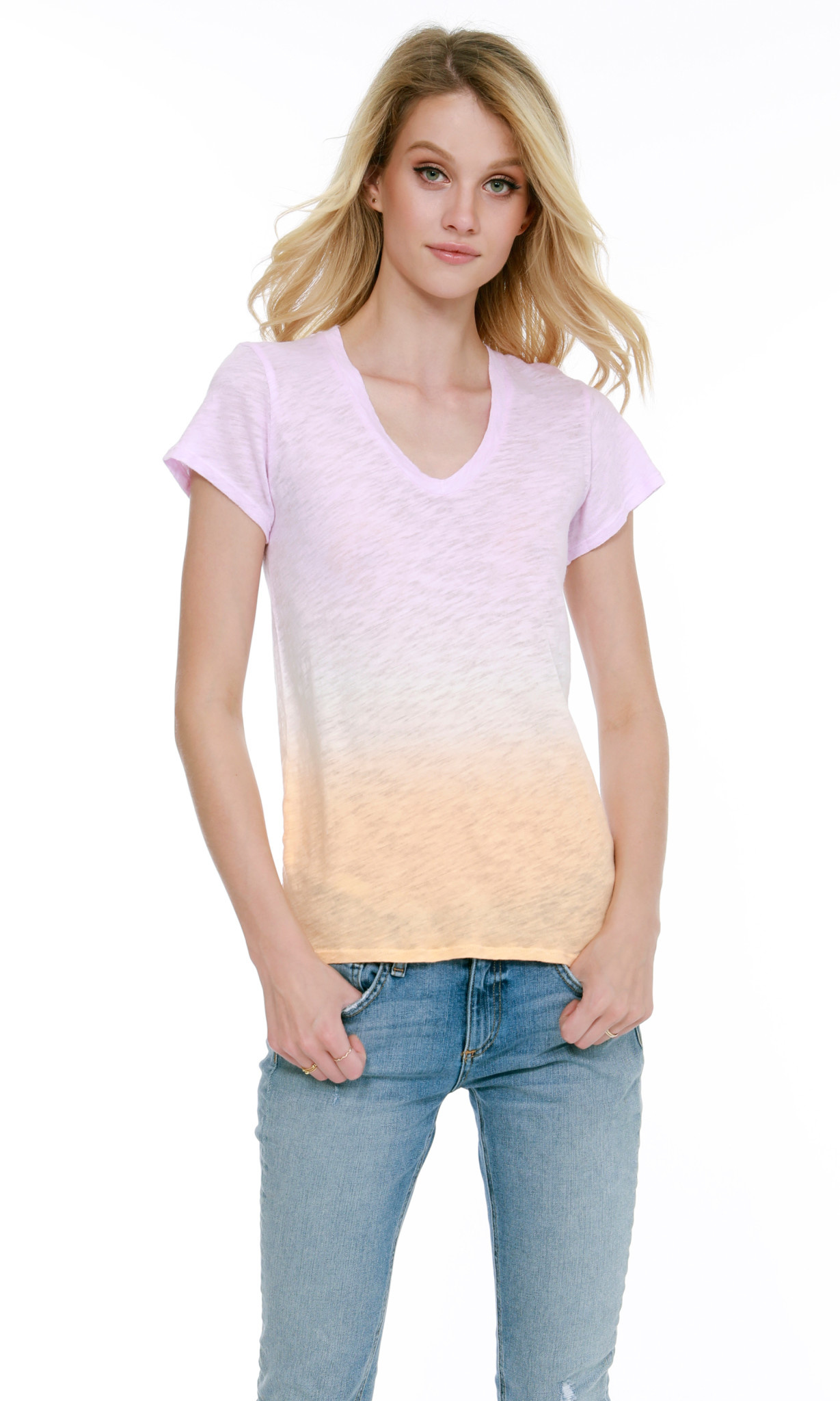 Ombre V- Neck Tee Shirt