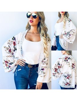 Floral Bell Lace Sleeve Cardigan