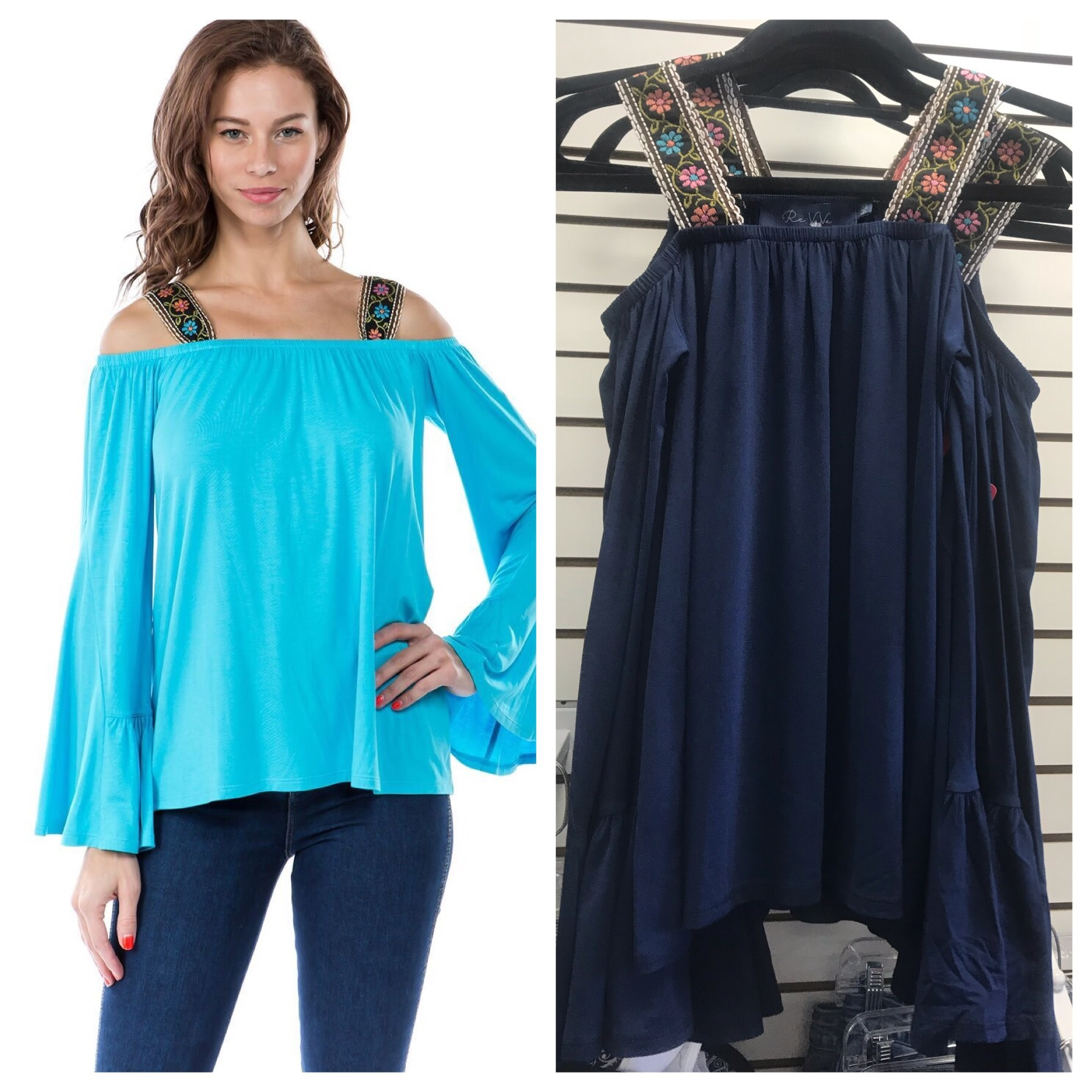 Bell Sleeve Ribbon Strap Top