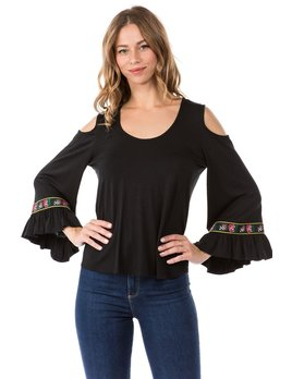 Bell Sleeve Top with Ribbon Sleeve