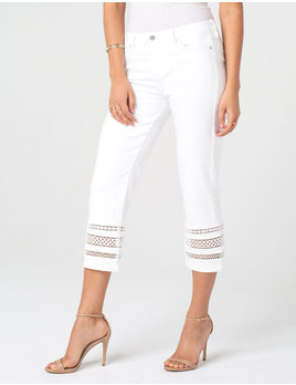Crop Straight Jeans with Lace