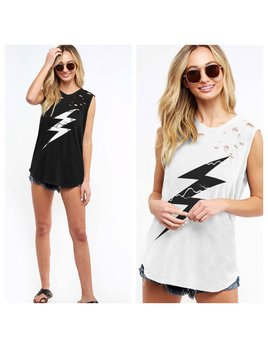 Distressed Lightening Bolt Tank