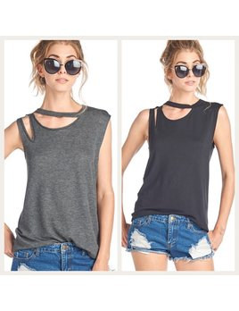 Distressed One Shoulder Sleeveless Top