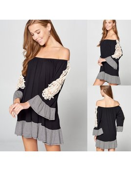 Lace & Stripe Bell Sleeve Dress
