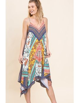 Floral Mixed Fabric Dress