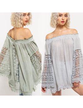 Lace & Crochet Off Shoulder Top