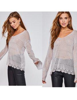 Sheer Bell Sleeve Sweater