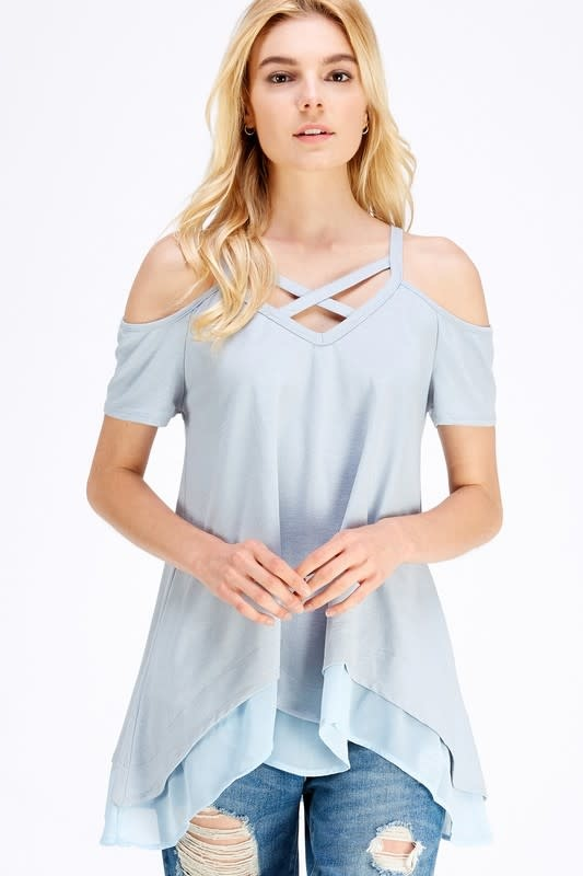 Cold Shoulder X Top with Chiffon Hem