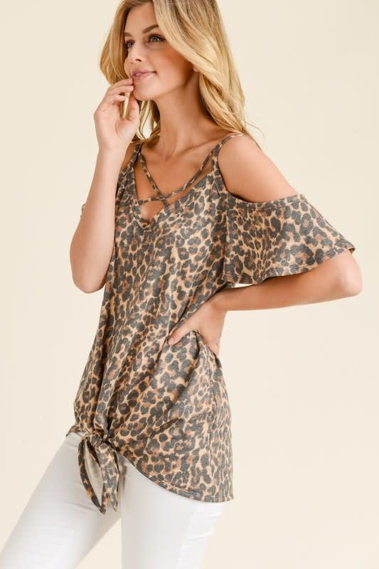 Leopard Print X Tie Front Top
