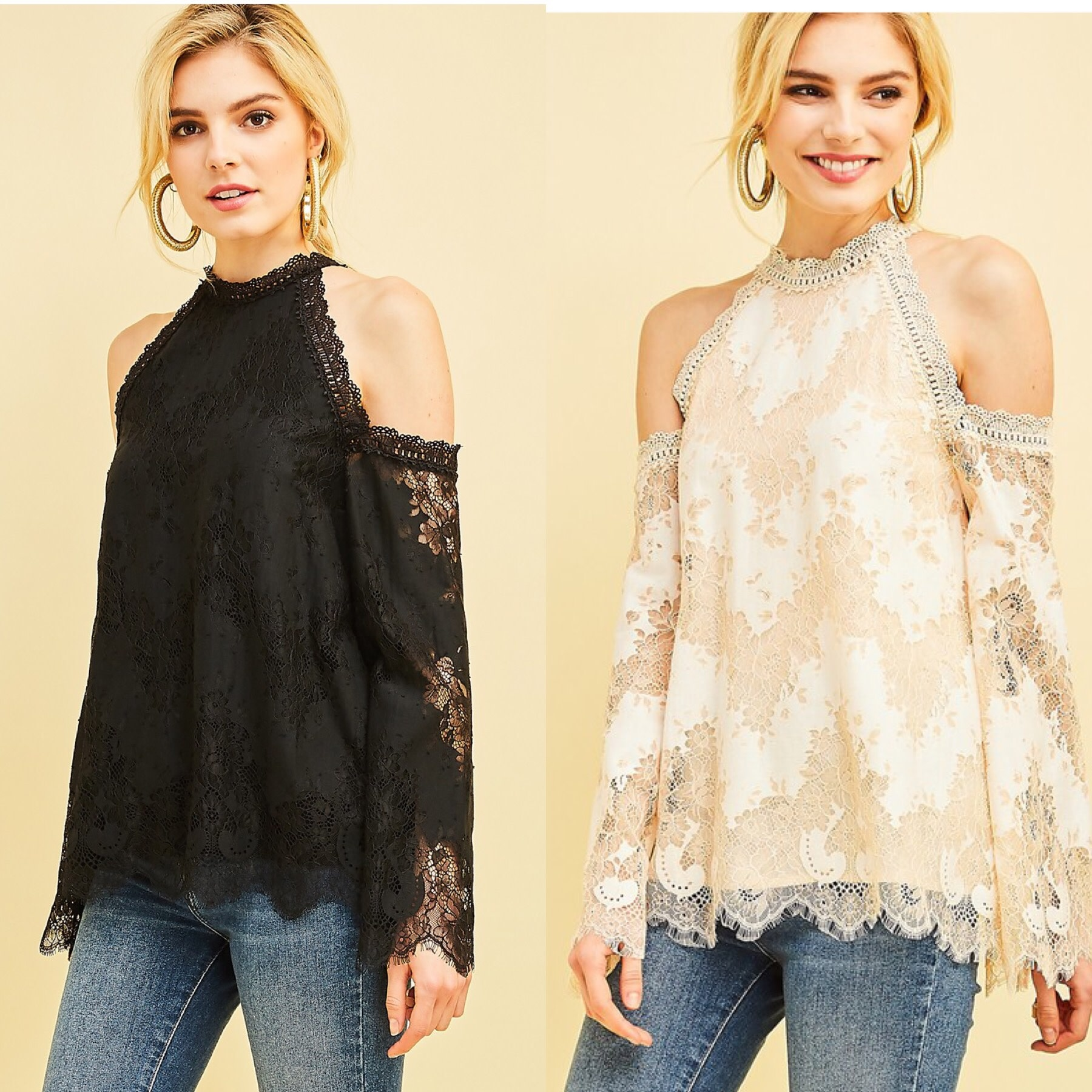 Lace Halter Top with Cold shoulder