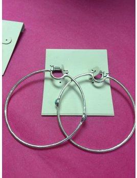Turquoise Silver Hoop Earring