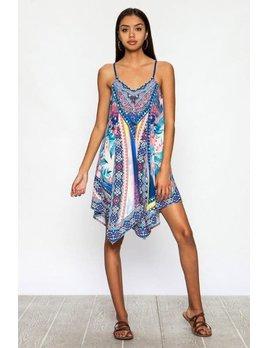 Print Handkerchief Mini Dress
