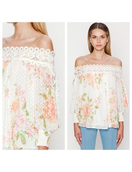 Floral & Lace Off Shoulder Top
