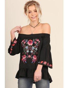 Off Shoulder Floral Embroidered Top