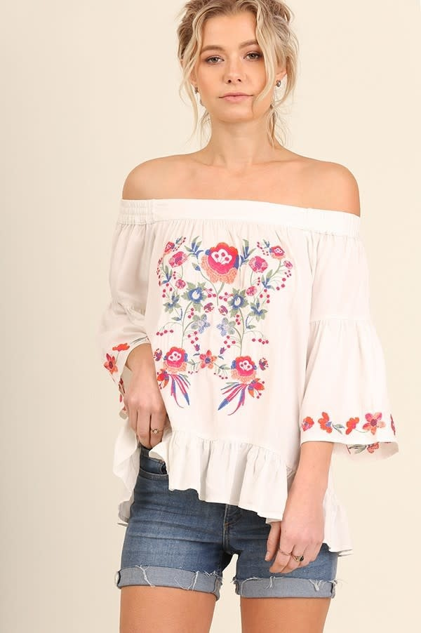 Off Shoulder Floral Embroidered Top