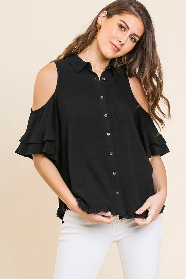 Frayed Hem Ruffle Sleeve Cold Shoulder Top