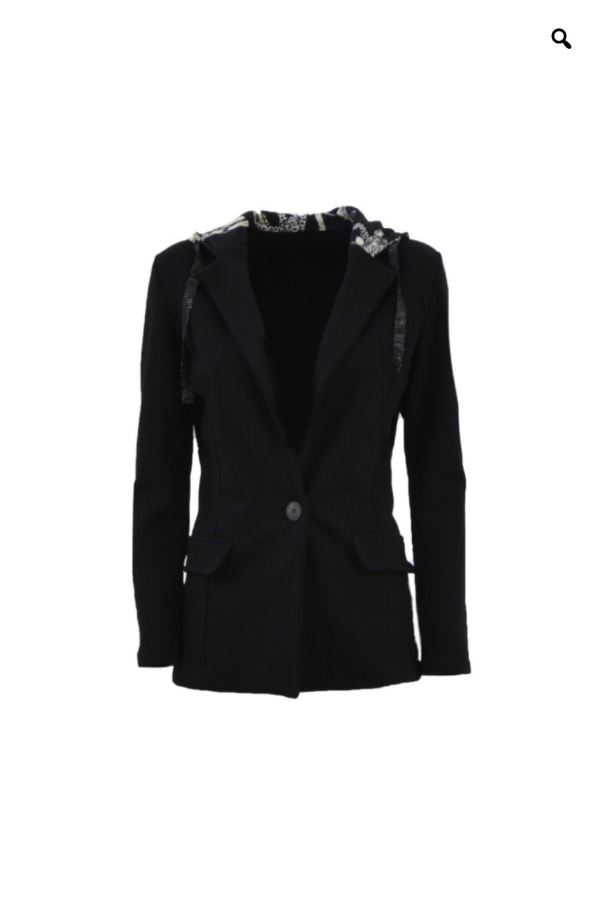 Fitted Blazer with Silk Hoodie