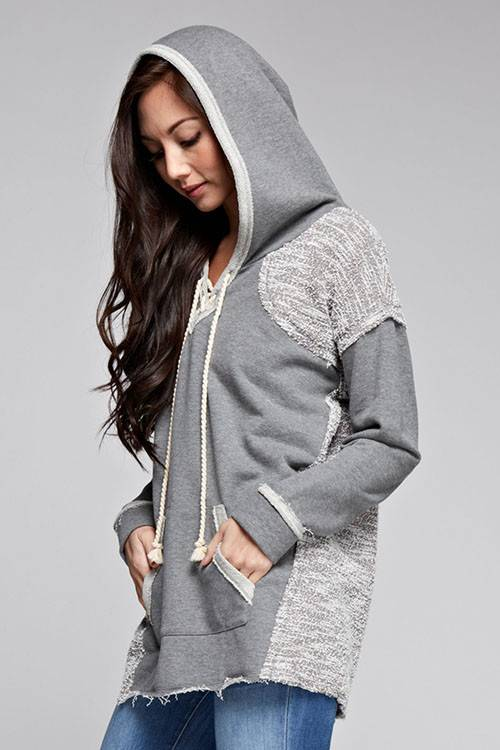 Contrast Lace Up Hoodie