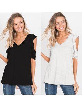 V Neck Ruffle Cold Shoulder Top