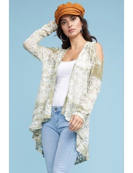 Lace Tie Dye Cold Shoulder Cardigan