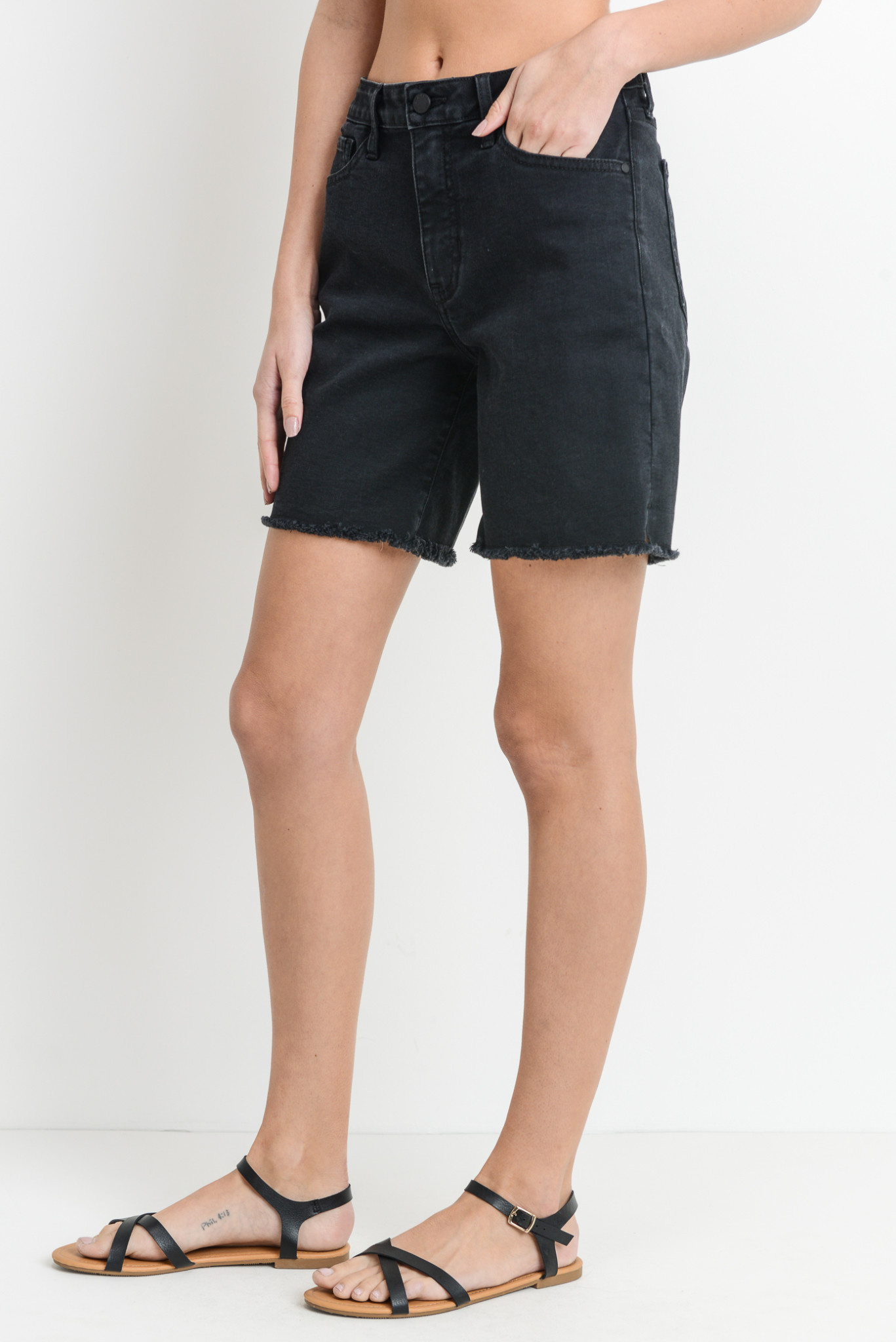 High Rise Frayed Bermuda Shorts