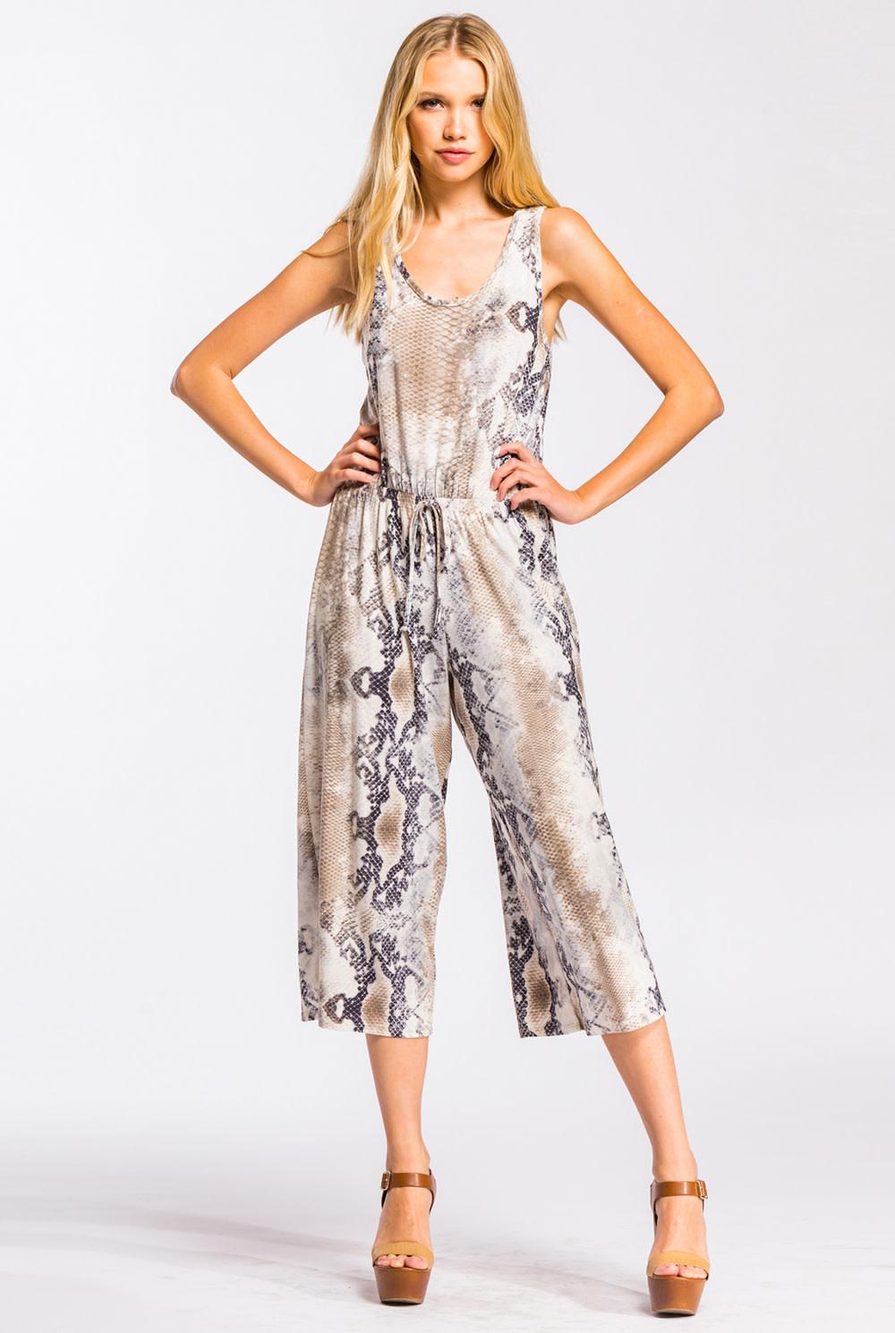 Snake Print Culotte Jumpsuit