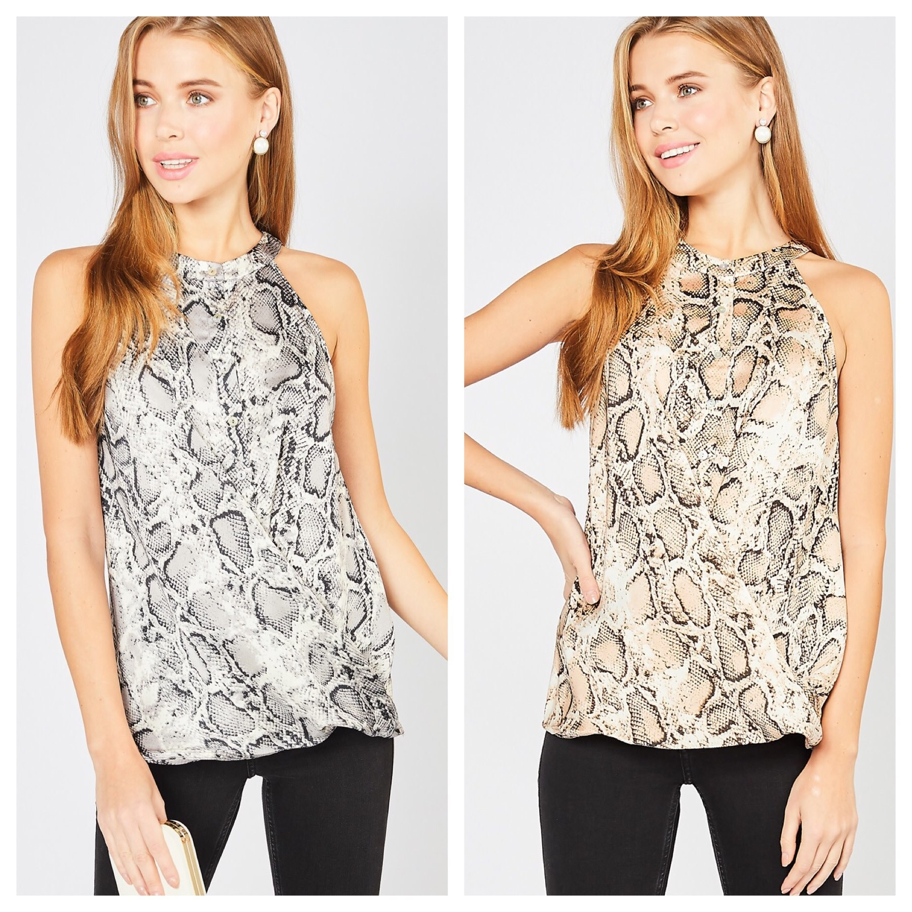 Snake Print Wrap Sleeveless Top