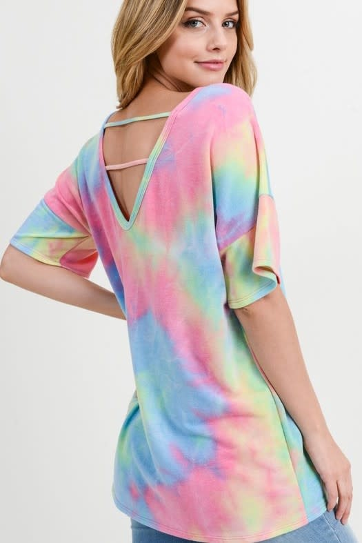 Tie Dye Neon Top with Strappy Back Detail