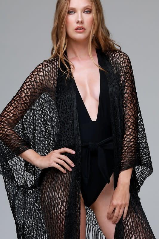 Sheer Net Tassel Kimono