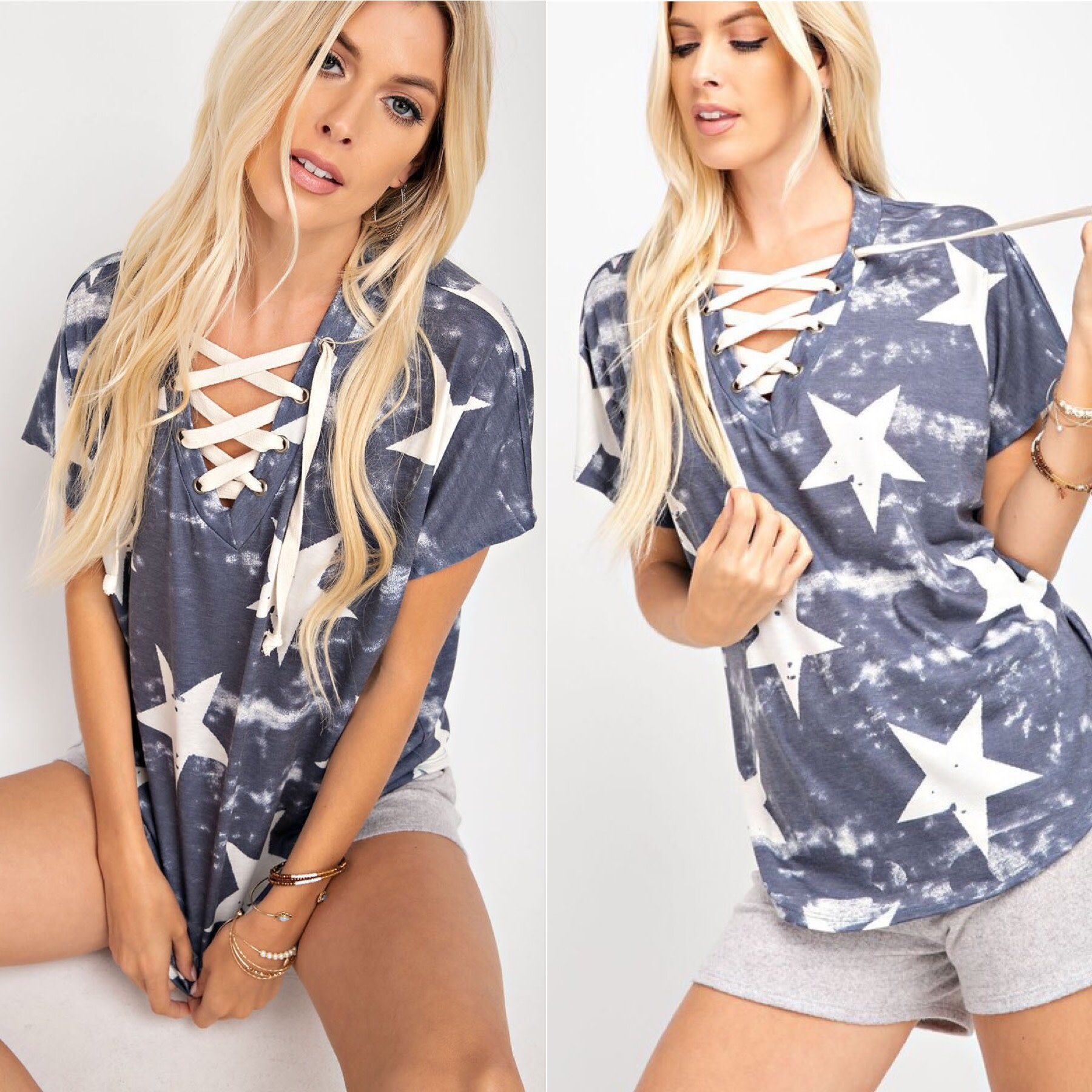 Lace Up Star Top