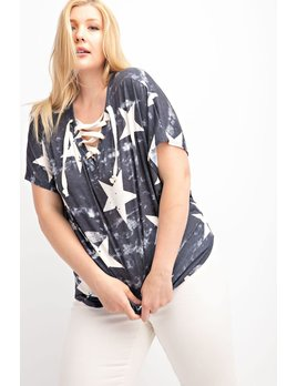 Lace Up Star Print V Neck Top PLUS