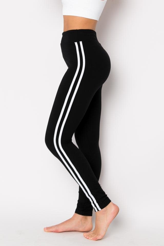 Yummy Solid Legging with Stripe on Side