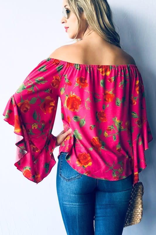 Floral Print ruffle Sleeve Top