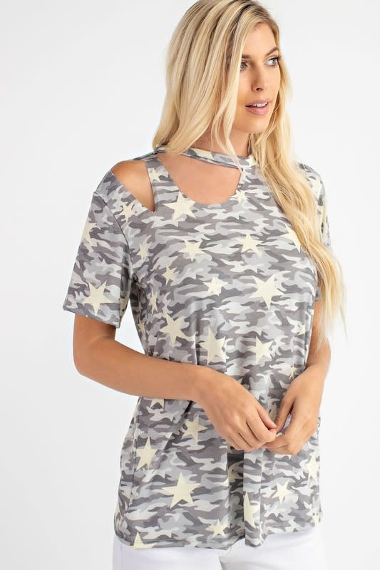 Star Detail Camouflage Top