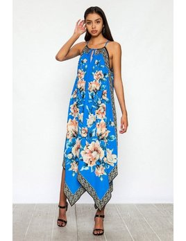 Floral Print Handkerchief Maxi Dress